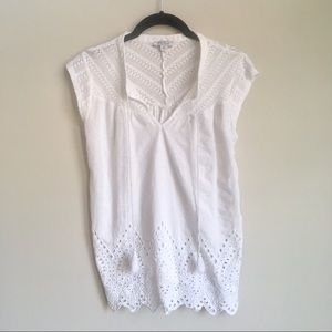 Lucky Brand Lace eyelet sleeveless blouse